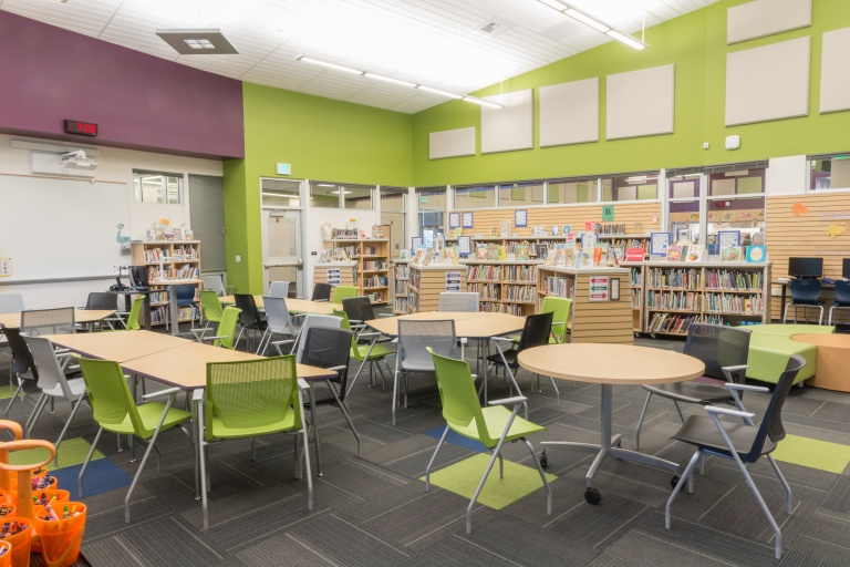 Elementary School Library Bookshelves and Tables