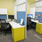 Brightly Colored Office Cubicles at Business in Boise, ID