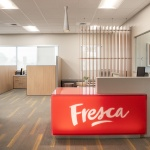Geometric Lightbox Wrapped Reception Desk by 3form in Boise Office