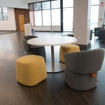 Pouf Seating around Table in Office Open Area