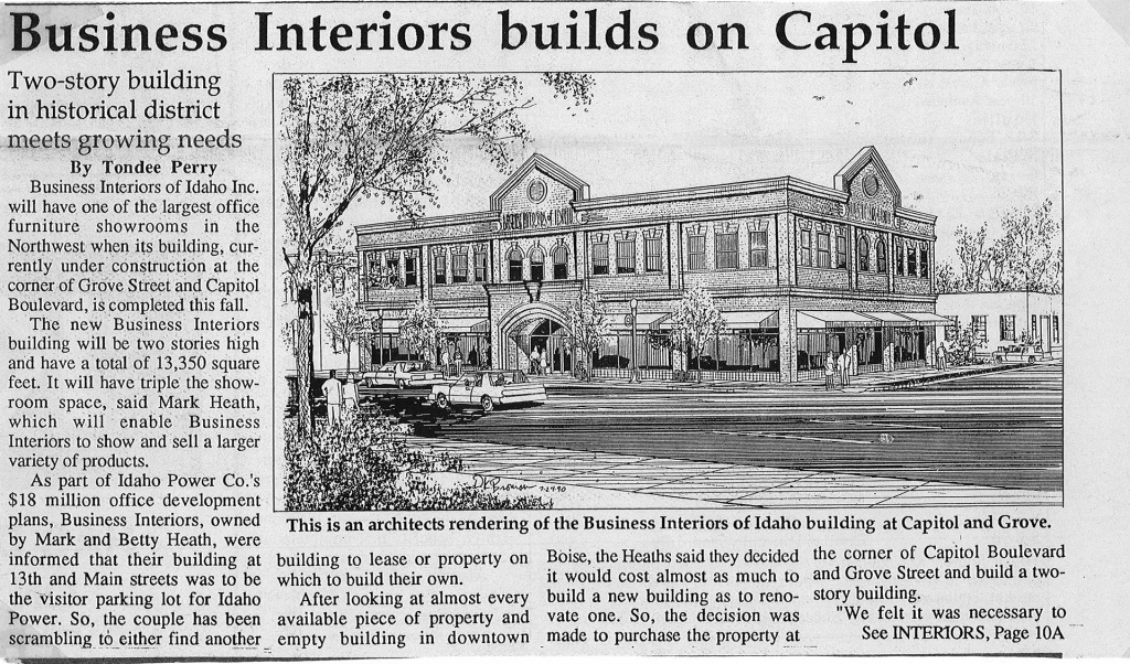 Newspaper Clipping From 1990 For BII Building