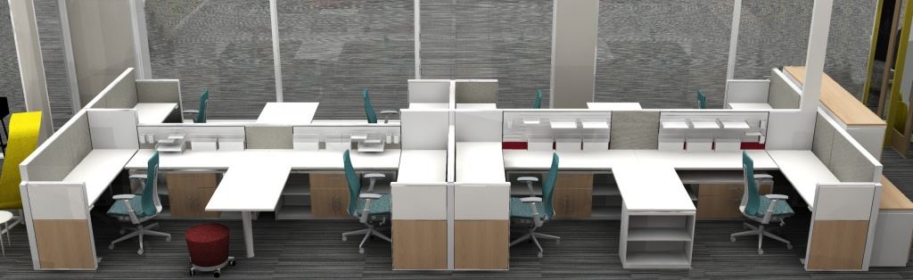Reconfigured Group of Workstations in Commercial Furniture Showroom in Boise