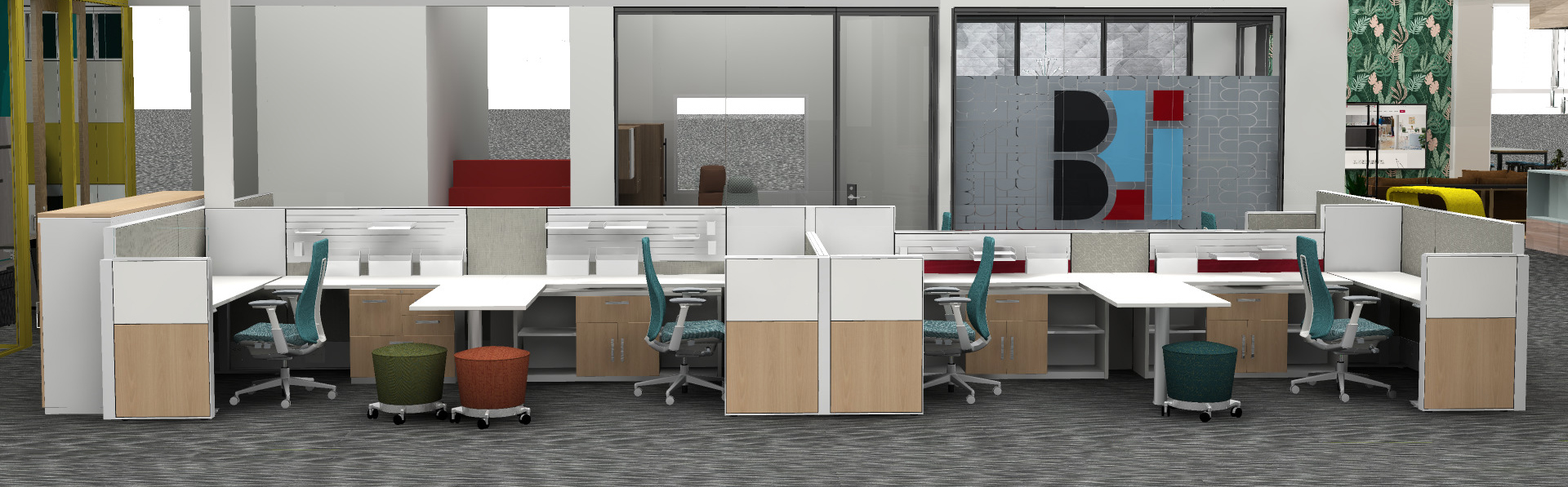 Reconfigured Group of Workstations at BII's Furniture Showroom in Boise, ID